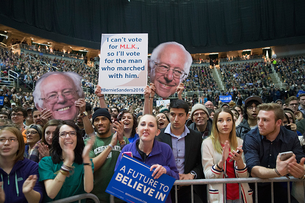 Bernie Sanders supporters at a campaign rally.
