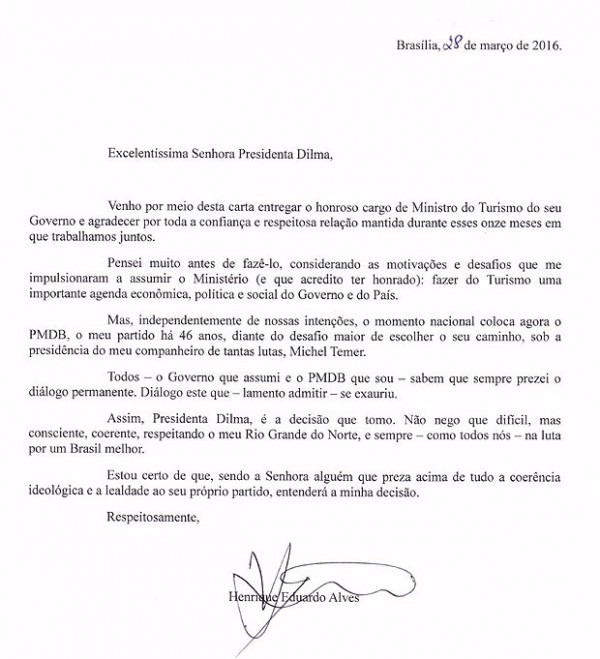 Dilma Rousseffs Minister of Tourism Pens Resignation Letter PMDB – Ministry Resignation Letter