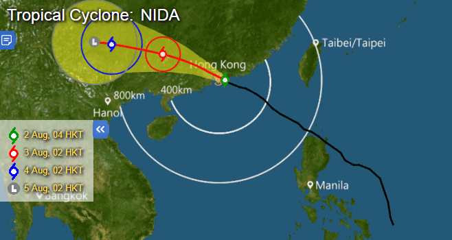 Hong Kong flights cancelled as typhoon Nida approaches