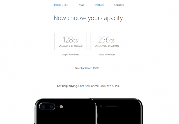 The iPhone 7 Plus 'Jet Black' versio purchased online will ship in November of 2016