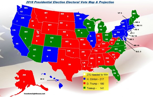 Electoral Vote Map Projections and Predictions as of September 15, 2016