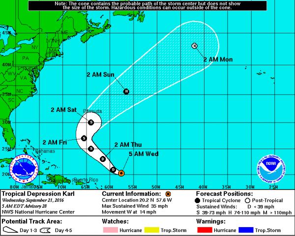 Tropical Storm Karl - Sept 2016