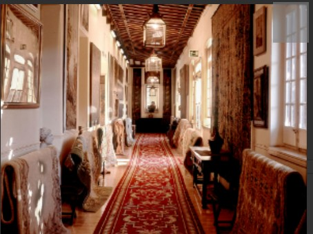 The Royal Tapestry Factory in Madrid (Spain). One of its galleries to show a collection of its tapestries and carpets.