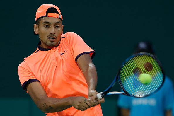 Nick Kyrgios returns a shot against Mischa Zverev of Germany during the Men's singles second round match on day four of Shanghai Rolex Masters at Qi Zhong Tennis Centre on October 12, 2012.