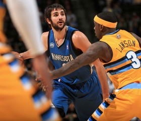 Ricky Rubio #9 of the Minnesota Timberwolves controls the ball against Ty Lawson #3 of the Denver Nuggets at Pepsi Center on November 15, 2013 in Denver, Colorado.