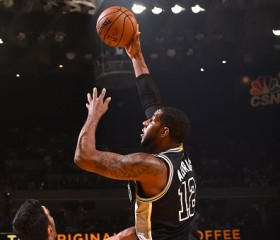 LaMarcus Aldridge #12 of the San Antonio Spurs shoots the ball against the Golden State Warriors during a game on October 25, 2016 at ORACLE Arena in Oakland, California.