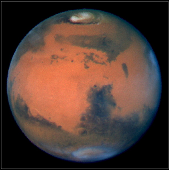 FRANCE - JUNE 01: New Proof of the Presence of Water in Martian Underground in France in June, 2001 - The 10th of March 1997 a Mars view taken by NASA Hubble Space Telescope (HST). At this time, it is the shortest distance to the Earth, nearly about 56 mi