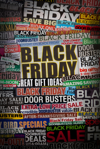 Colorful black friday newspaper collage