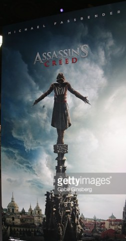 'Assassin's Creed' poster is displayed in the Ubisoft booth at the Licensing Expo 2016 at the Mandalay Bay Convention Center on June 22, 2016 in Las Vegas, Nevada