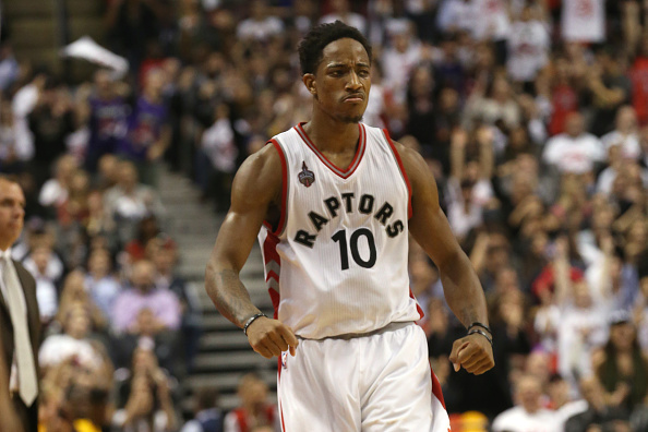 Toronto Raptors guard DeMar DeRozan (10) walks back to his defensive end