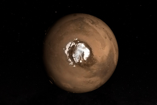 Nadir view of the Martian North Pole.