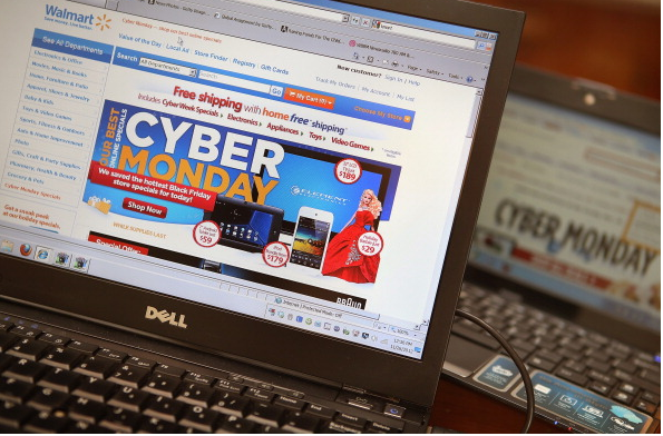 Retailers advertise Cyber Monday deals on their websites on November 26, 2012 in Chicago, Illinois