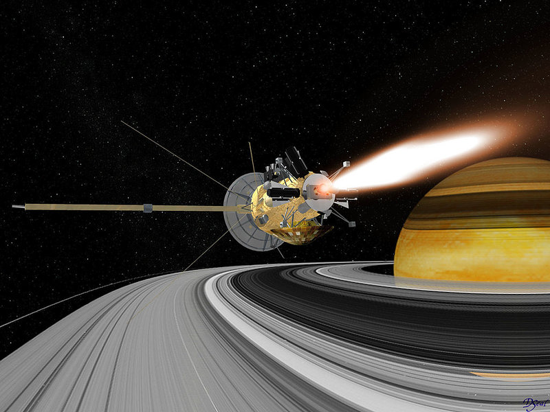 Cassini spacecraft in Earth swing