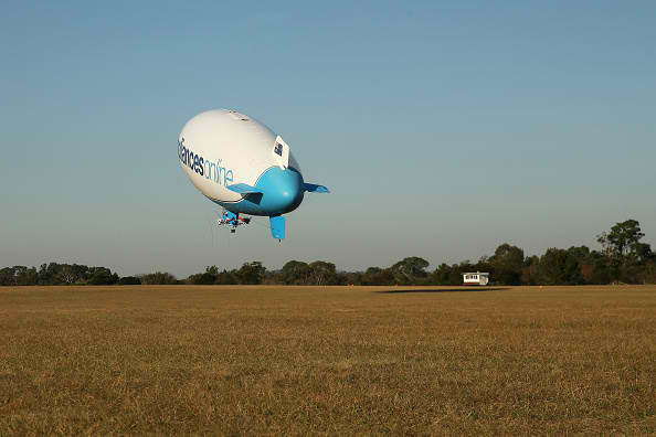 The Appliances Online blimp takes off from Camden Airport on April 28, 2016 in Sydney, Australia.