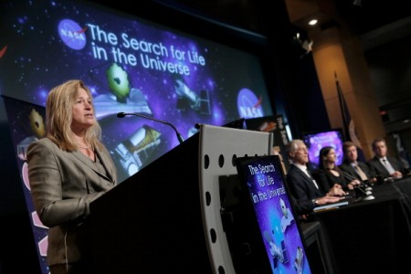 Ellen Stofan, chief scientist at NASA, speaks at a press conference discussing 'the scientific and technological roadmap that will lead to the discovery of potentially habitable worlds among the stars