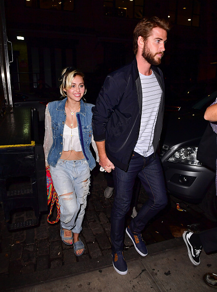 Miley Cyrus and Liam Hemsworth arrive to Catch on September 15, 2016 in New York City.