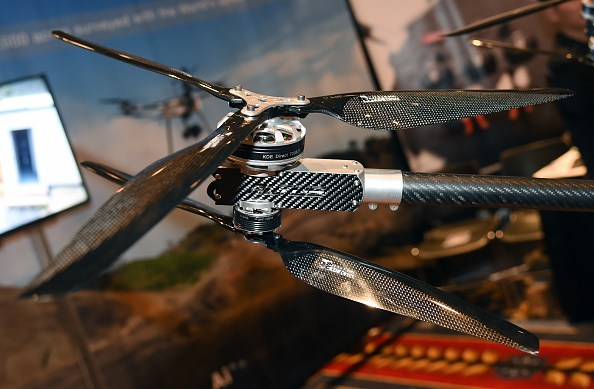 The staggered rotors on a Delta LRX drone by Altus Unmanned Aerial Solutions are displayed at InterDrone, an international drone conference and exposition for commercial drones.
