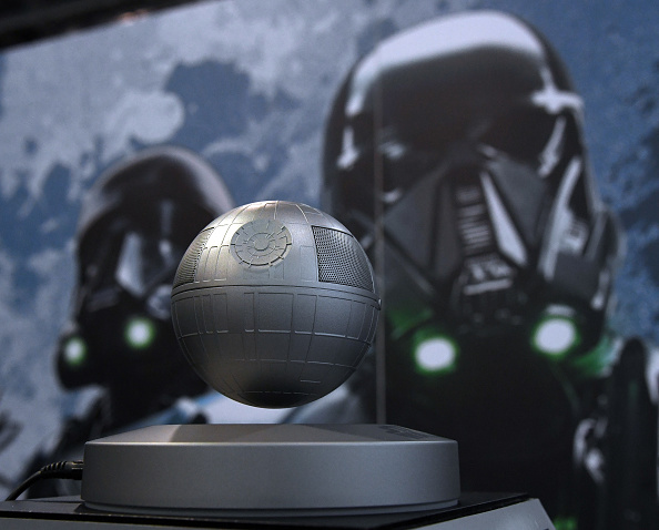 Plox's Star Wars Death Star Levitating Bluetooth Speaker is displayed at CES 2017 at the Sands Expo and Convention Center on January 5, 2017 in Las Vegas, Nevada.
