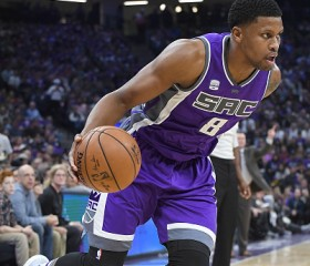 Rudy Gay #8 of the Sacramento Kings looks to drive to the basket against the San Antonio Spurs during the first quarter of an NBA basketball game at Golden 1 Center on October 27, 2016 in Sacramento,
