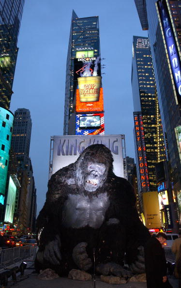 A giant King Kong figure is photographed at a photocall for the Universal Pictures film premiere of 'King Kong' in Times Square December 5, 2005 in New York City.