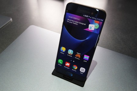 Samsung Galaxy S7 edge smartphone is on display at the Samsung booth during CES 2017 in Las Vegas, Nevada.