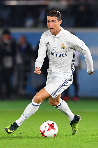 Cristiano Ronaldo of Real Madrid in action during the FIFA Club World Cup final match between Real Madrid and Kashima Antlers at International Stadium Yokohama on December 18, 2016 in Yokohama, Japan.