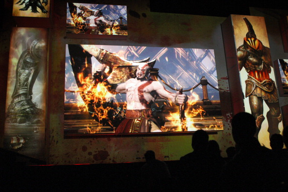 The violent game 'God of War Ascension' is introduced to the audience at the Sony press conference on the eve of the Electronic Entertainment Expo (E3) on June 4, 2012 in Los Angeles, California.