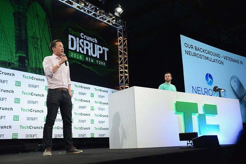 CEO and Co-founder of Halo neuroscience Dr. Daniel Chao speaks onstage during TechCrunch Disrupt NY 2016 at Brooklyn Cruise Terminal on May 9, 2016 in New York City.