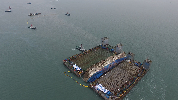 Sewol ferry hauled onto lifting ship in salvage operation