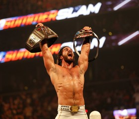 Seth Rollins celebrates his victory over John Cena at the WWE SummerSlam 2015 at Barclays Center of Brooklyn on August 23, 2015 in New York City.
