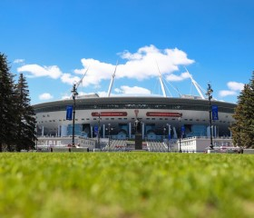 A general view of the Saint Petersburg Stadium on Krestovsky Island