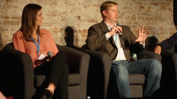AT&T's Erik Larson (right) talks social media at SMWF 2014 (Photo Credit: Michael Oleaga).
