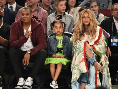 Jay Z, Blue Ivy Carter and Beyoncé Knowles