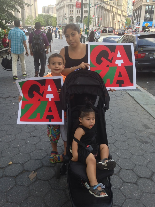 Paola, Ramiel and Harlem at the Gaza solidarity rally in New York City, July 24, 2014
