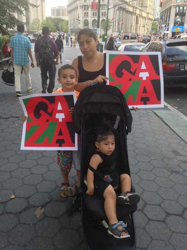 Paola, Ramiel and Harlem at the Gaza solidarity rally in New York City, July 24, 2014