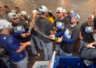Kansas City Royals celebrate after defeating the Oakland Athletics