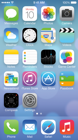 The iPhone 5 home screen in iOS 7 Beta 2 as released by Apple.