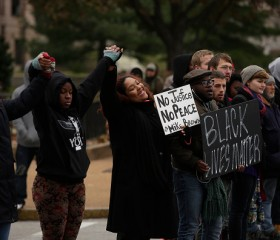 Michael Brown supporters protesting in Ferguson, Missouri