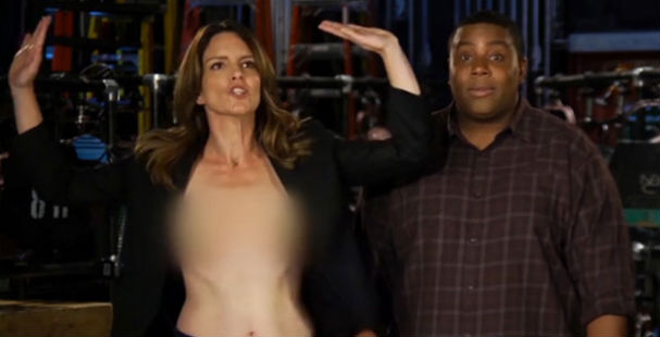 Tina Fey Makes Fun of Her Wardrobe Malfunction and Appears Topless on SNL