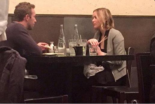 Chris Martin and Jennifer Lawrence