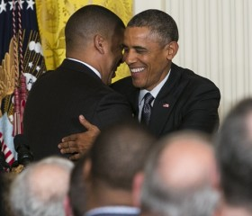 Mayor Kevin Johnson of Sacramento and President Barack Obama