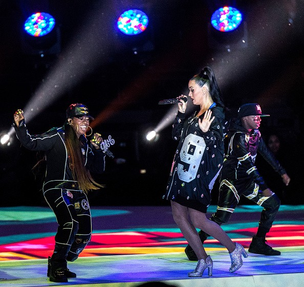GLENDALE, AZ - FEBRUARY 01: Recording artists Katy Perry and Missy Elliott perform onstage during the Pepsi Super Bowl XLIX Halftime Show at University of Phoenix Stadium on February 1, 2015 in Glendale, Arizona.