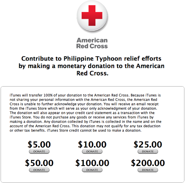 Apple iTunes Donation To Typhoon Haiyan Victims