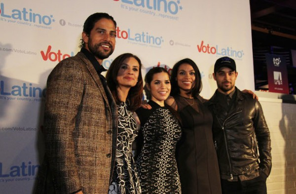 Voto Latino President and CEO Maria Teresa Kumar with the organization's co-founder Rosario Dawson with actors American Ferrera, Adam Rodriguez and Wilmer Valderrama on March 4, 2015, during the Voto Latino 10th year anniversary event.