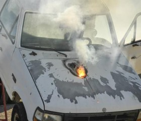 Remains of Truck Hit by Laser