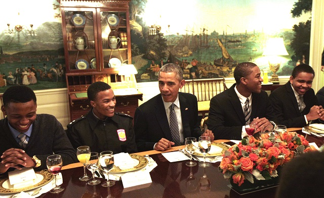 Members of My Brother's Keeper Program Have Lunch with President Obama