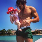 Aaron Diaz with His Daughter in Miami
