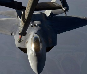 F-22 Raptor Fighter Aircraft Prior To Strike Operations In Syria