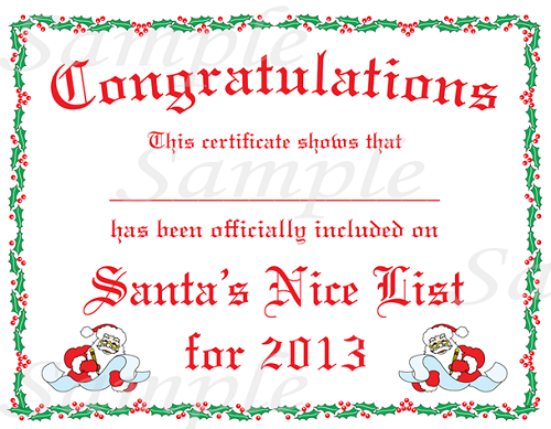 Santas Nice List Certificate Template | Search Results | Calendar 2015