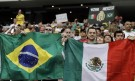 Fans Hold up Flags of Both Mexico and Brazil